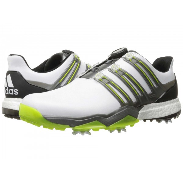 adidas Golf Powerband Boa Boost Ftwr White/Iron Metallic/Solar Slime
